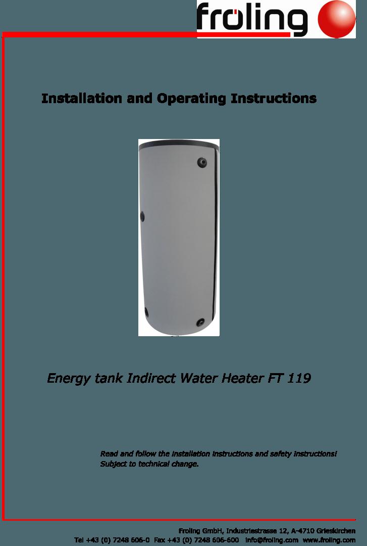Fröling Energy Tank Installation Instructions