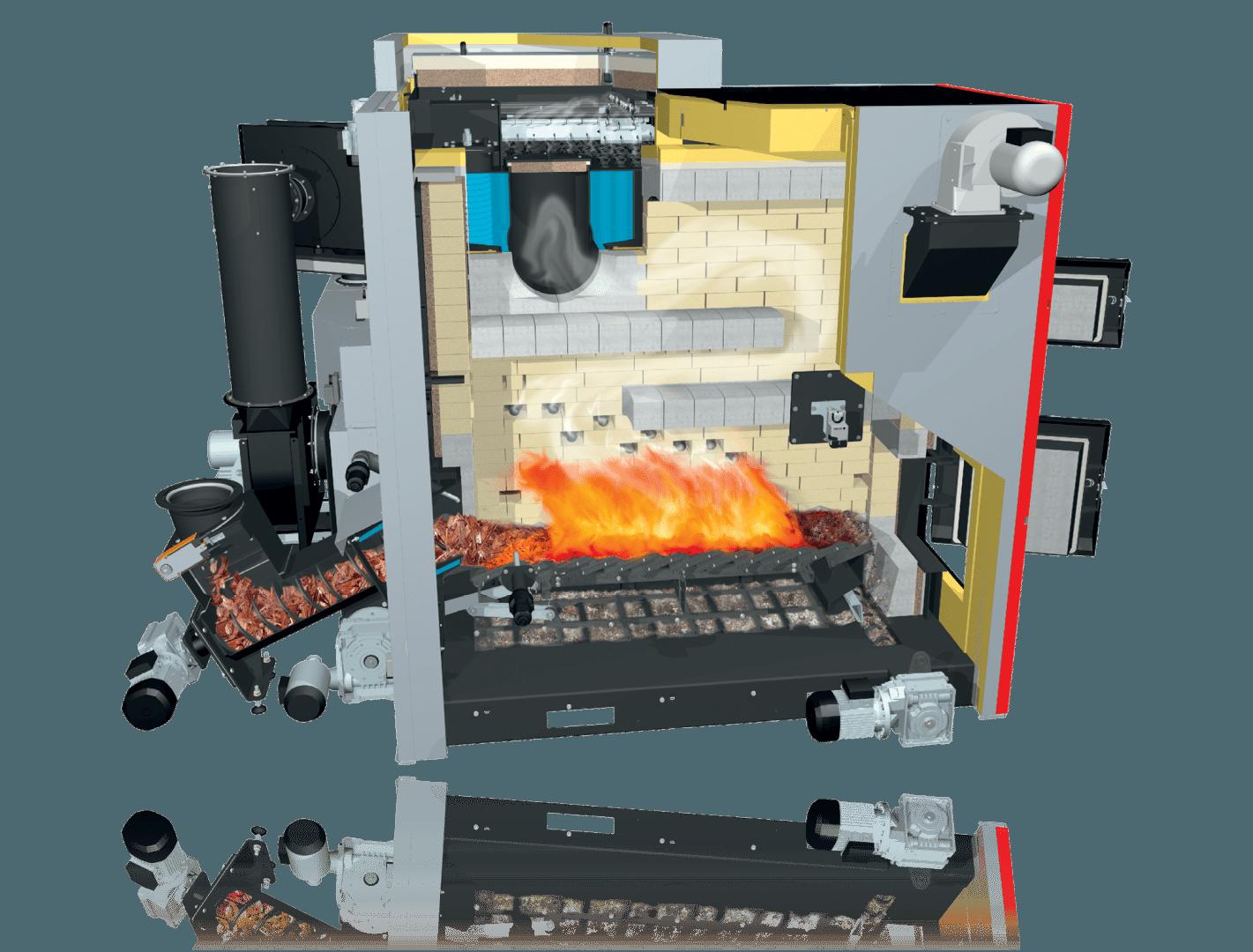 wood chip boiler Fröling TM 500 cross section