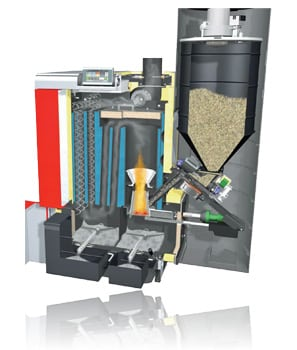 P4 pellet boiler Cross Section