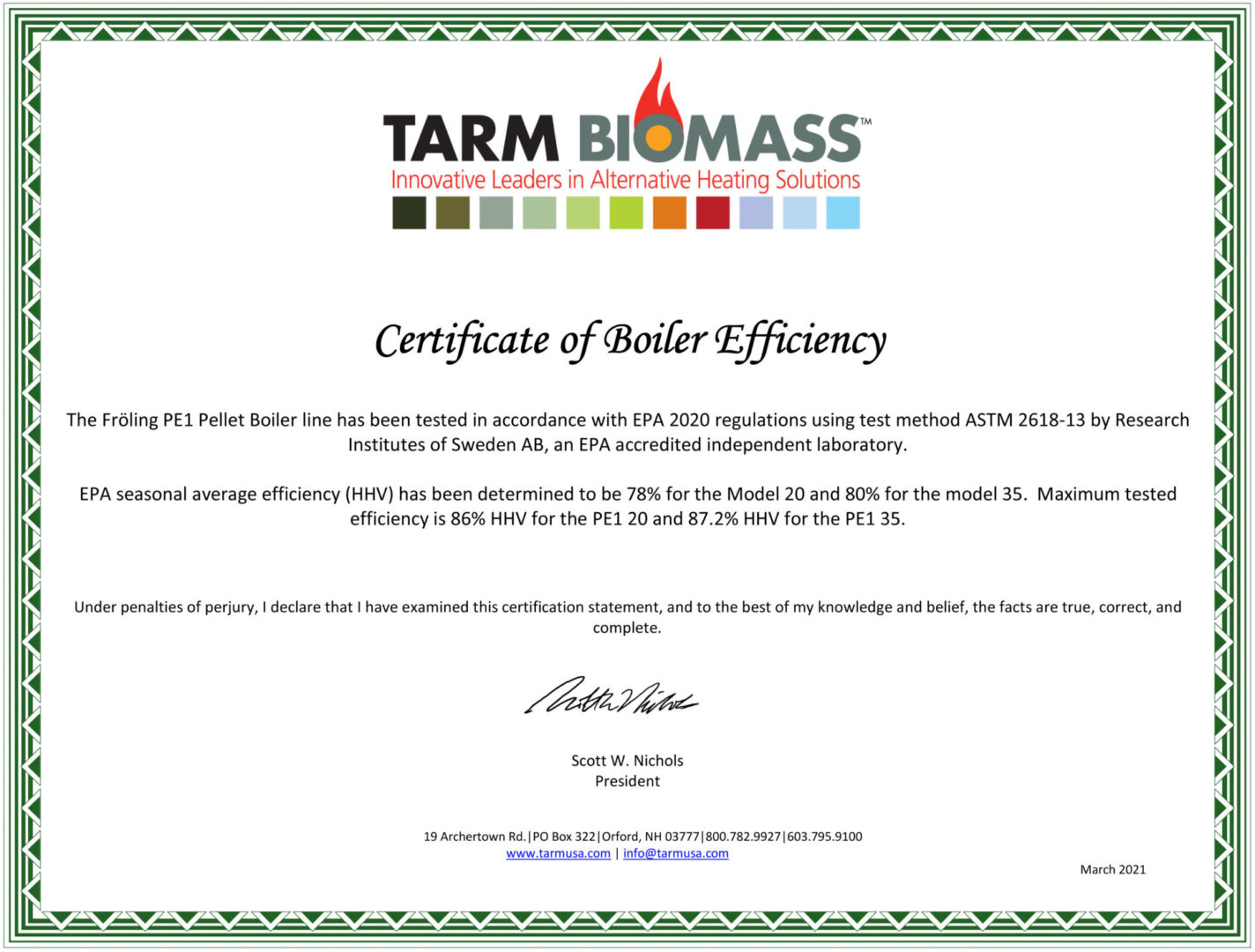 PE1 Certificate of Efficiency for tax credit