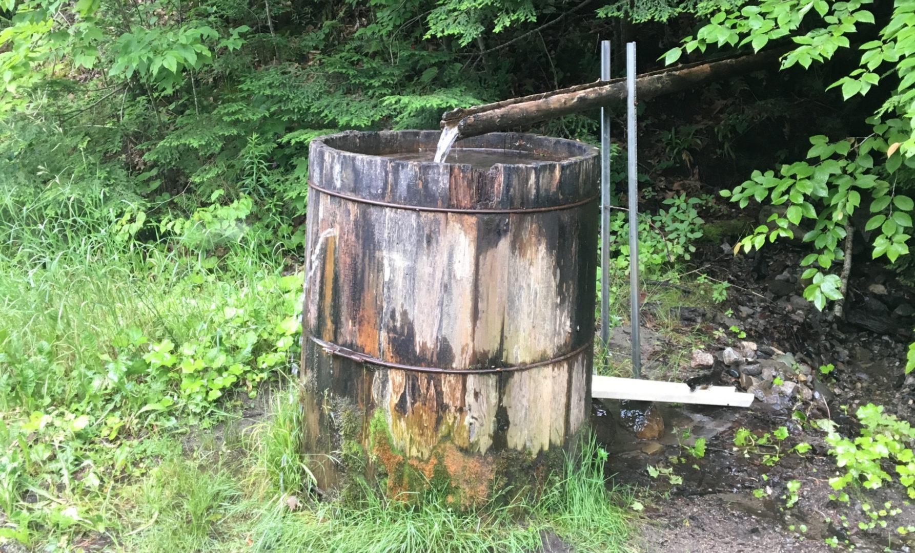 green firewood barrel